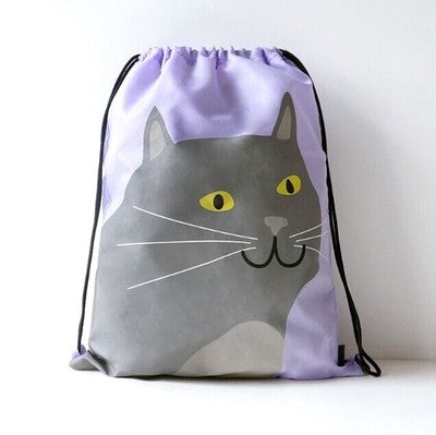 Drawstring [Grey Cat] Backpack By U-Pick