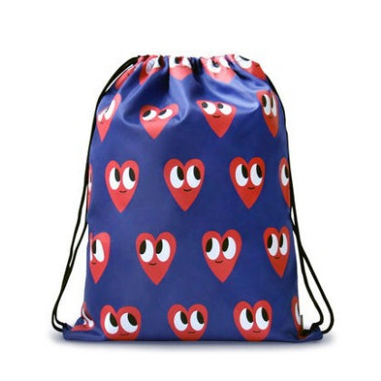 Drawstring [Hearts] Backpack By U-Pick