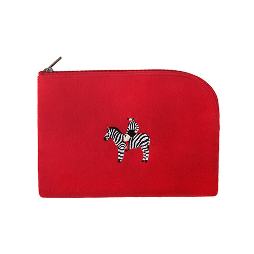 Embroidered Zebra Sleeve Pouch By YIZI STORE
