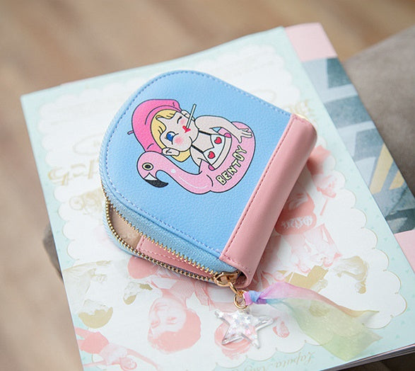 Half Moon [Flamingo Girl] Card Pouch By Bentoy