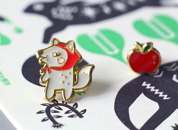 Animal Fox Apple Enamel Pin By U-Pick