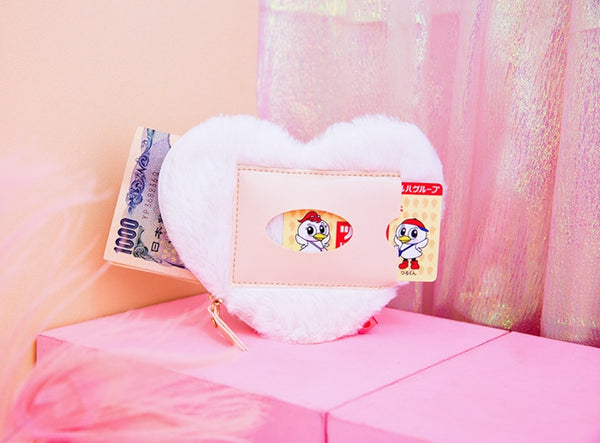 Furry Heart [Wolf White] Coin Card Pouch By Milkjoy