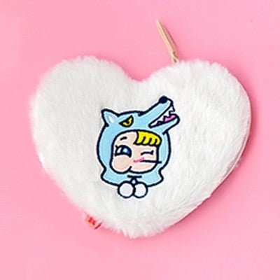 Furry Heart Wolf White Coin Card Pouch By Milkjoy