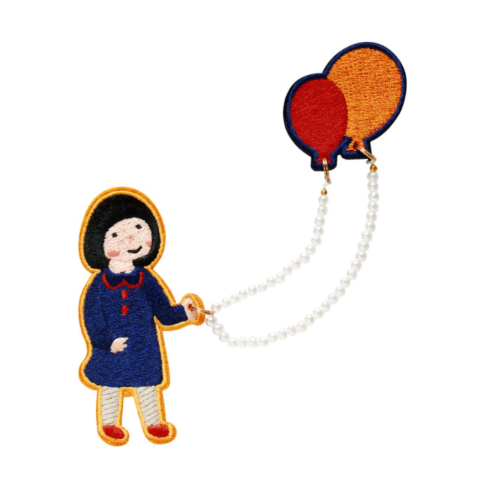 Girl Brooch S1 Girl With Balloons By U-Pick