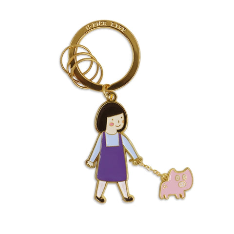 Girl Piggy Key Chain Girl Walking Pig By U-Pick