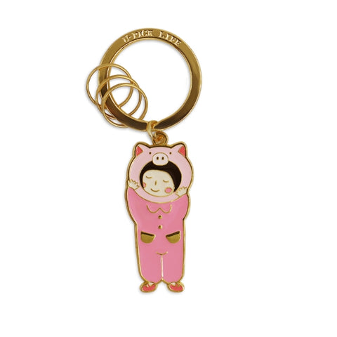 Girl Piggy Key Chain Girl With Pig Mascot By U-Pick