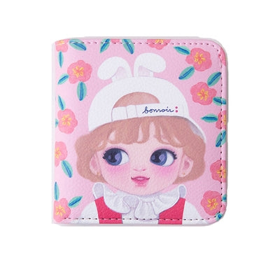 Dolly Girl [Orange Flowers] Mini PU Leather Wallet By Milkjoy