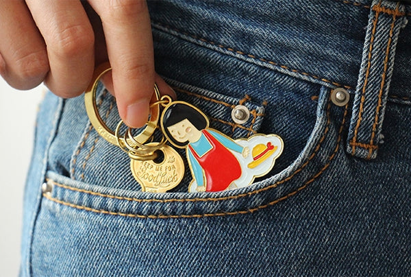 Girl [Girl On Cloud] Key Chain By U-Pick