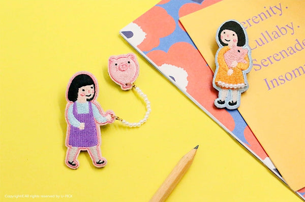 Girl Piggy Brooch By U-Pick