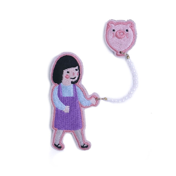 Girl Piggy Girl With Balloon Brooch By U-Pick
