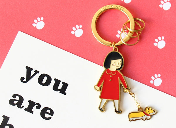 Girl [Girl Walking Dog] Key Chain By U-Pick
