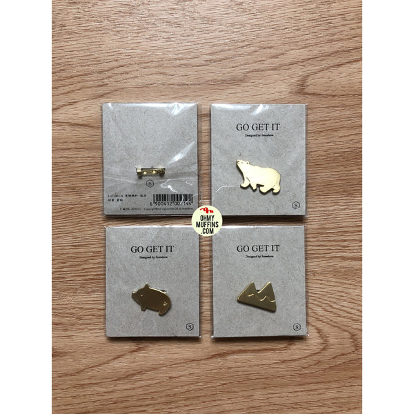 Go Get It [Polar Bear] Brass Pin By U-Pick X Somehow
