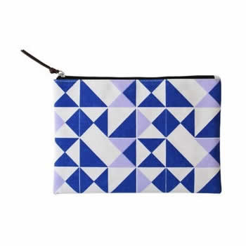 Graphic Pattern [Blue Triangle] Pouch By Colour-Up