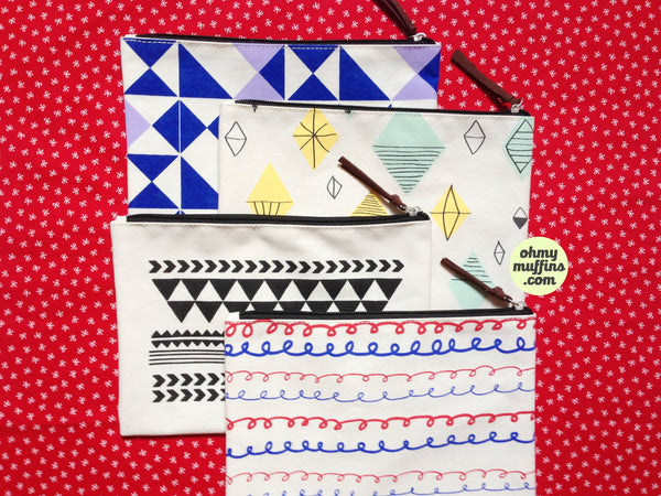 Graphic Pattern [Diamond Cut] Pouch By Colour-Up