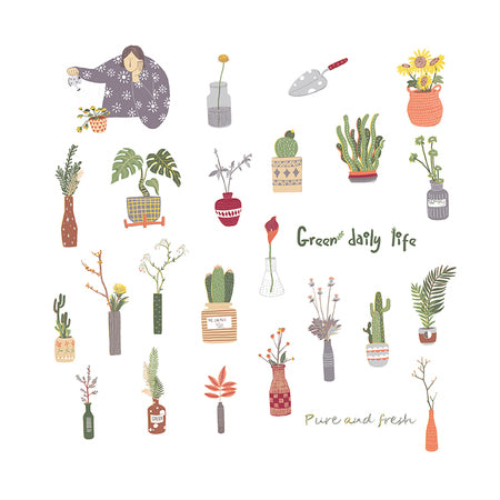 Elegant Green Daily Life Sticker Pack