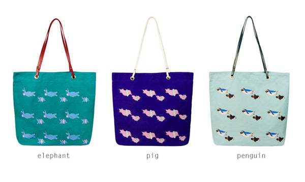 Swimming Animals Tote Bag by Hamor