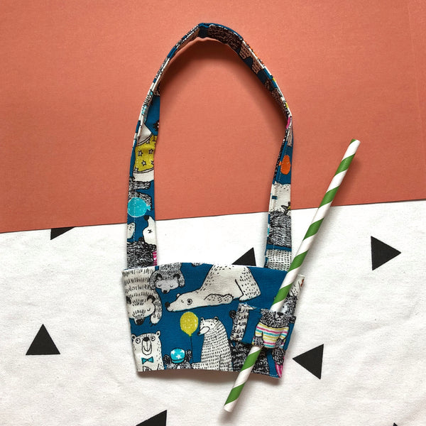 Hand-Sewn Fabric Cup Holder Carrier