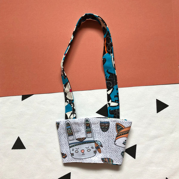 Hand-Sewn Fabric Blue French Bulldog Cup Holder Carrier