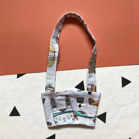 Hand-Sewn Fabric Cute Tribal Animals Cup Holder Carrier