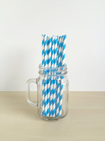 Carnival Blue Striped Paper Straws Singapore