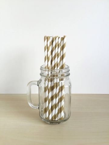 Gold Striped Paper Straws Singapore