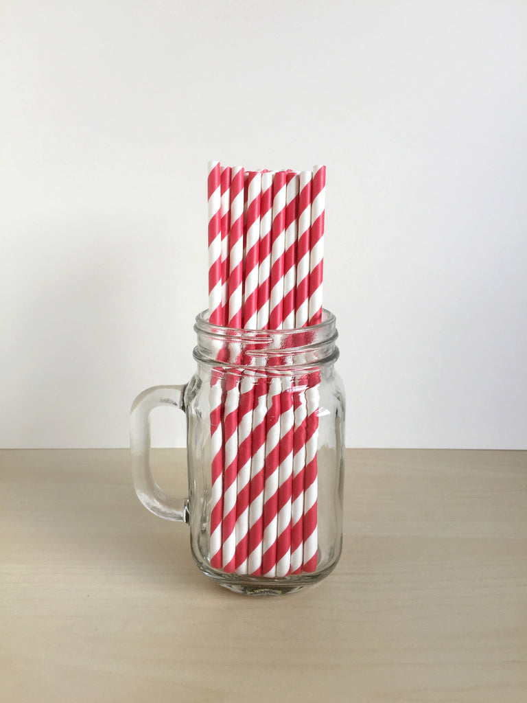 Candy Red Striped Paper Straws Singapore