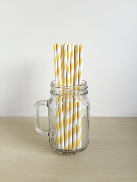 Yellow Striped Paper Straws Singapore