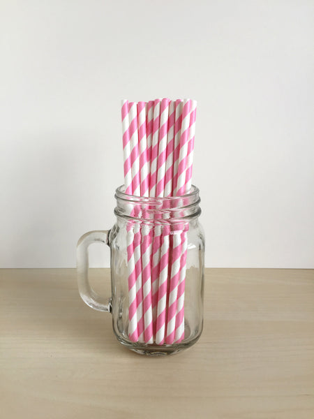 Bubblegum Pink Striped Paper Straws Singapore