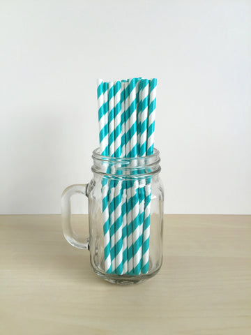 Aqua Striped Paper Straws Singapore