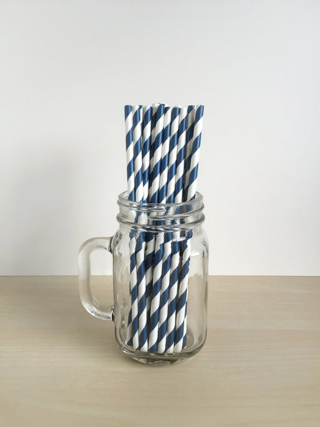 Navy Blue Striped Paper Straws Singapore