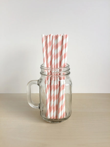 Peach Striped Paper Straws Singapore