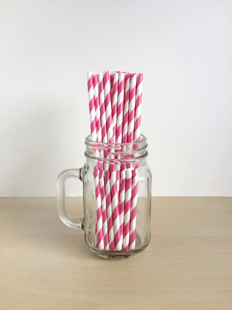 Hot Pink Striped Paper Straws Singapore