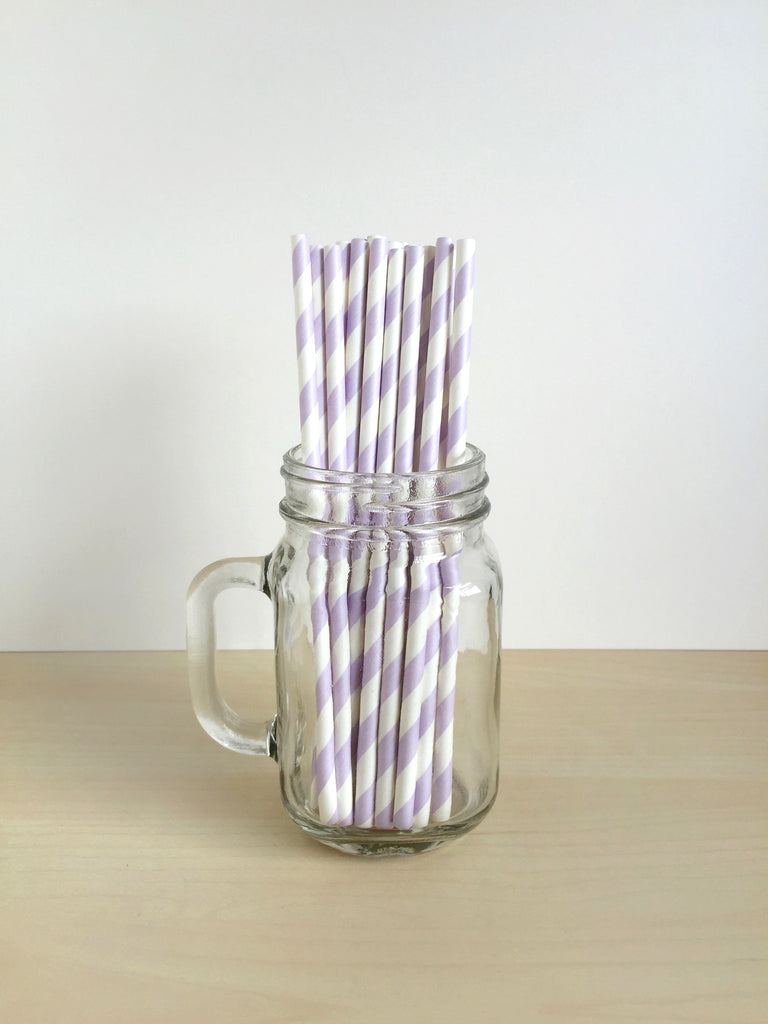 Lilac Striped Paper Straws Singapore