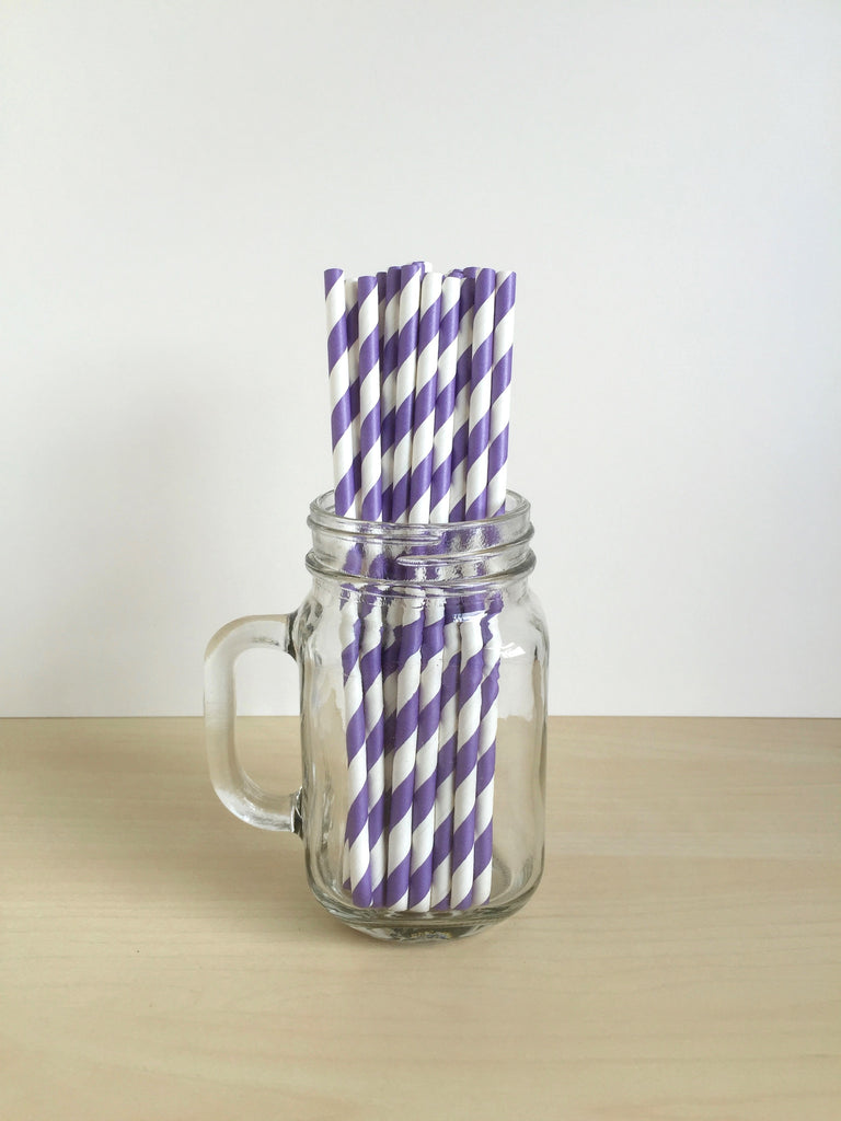 Purple Striped Paper Straws Singapore