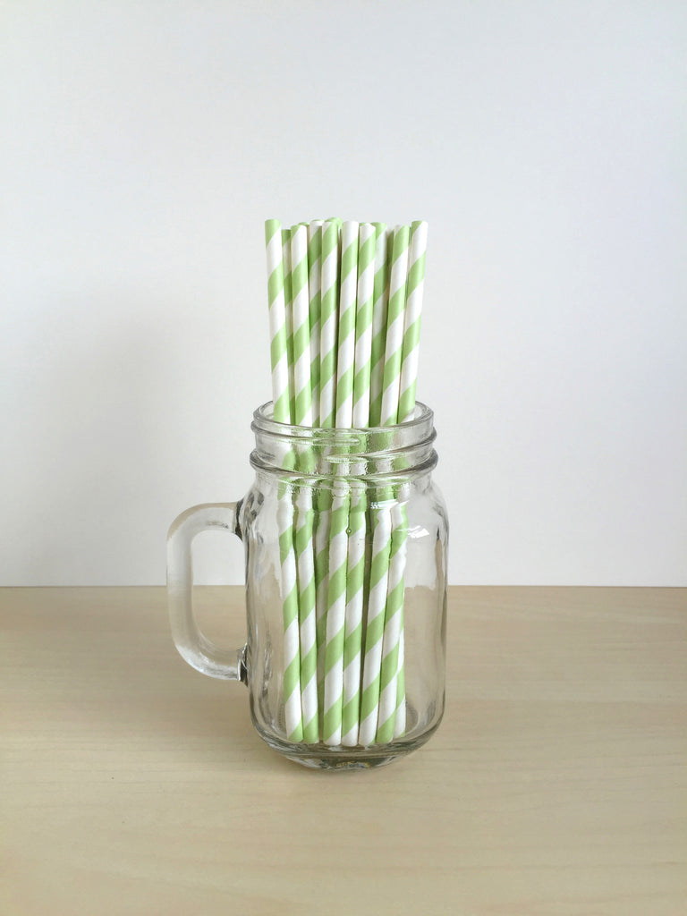 Green Striped Paper Straws Singapore