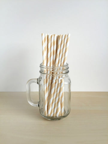 Ivory Striped Paper Straws Singapore