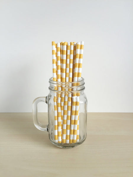 Yellow Sailor Striped Paper Straws Singapore