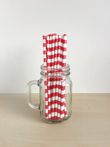 Candy Red Sailor Striped Paper Straws