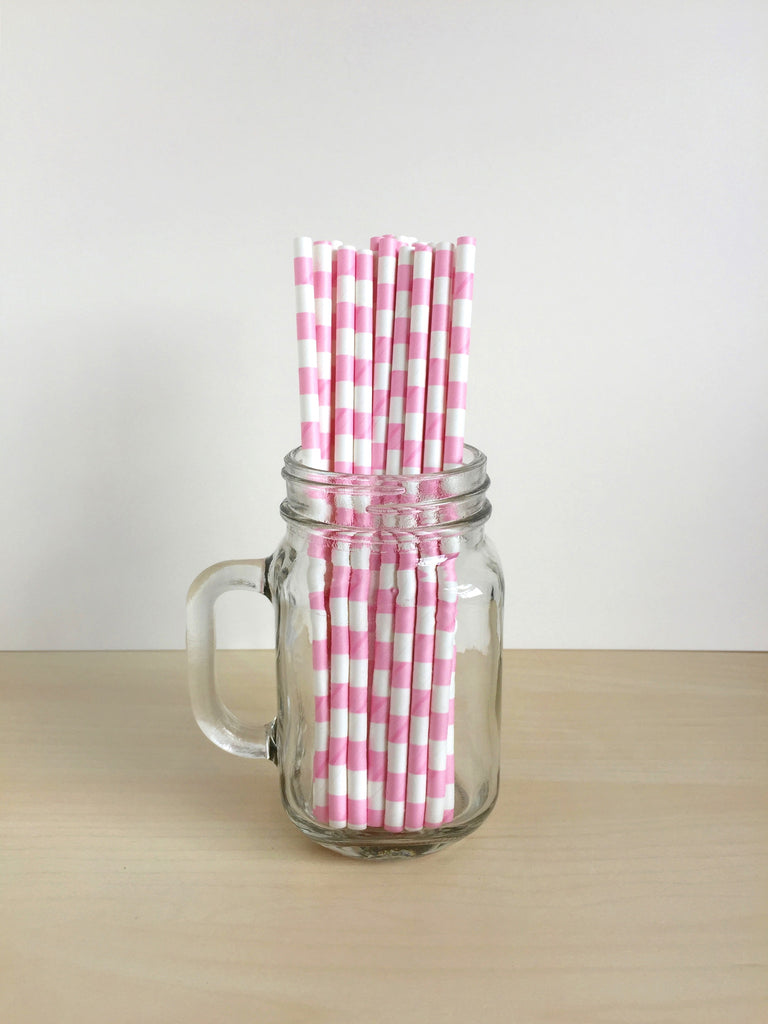 Bubblegum Pink Sailor Striped Paper Straws Singapore