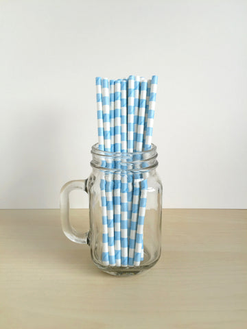 Powder Blue Sailor Striped Paper Straws Singapore