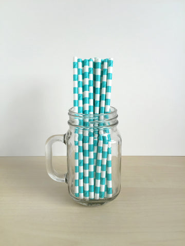 Aqua Sailor Striped Paper Straws Singapore