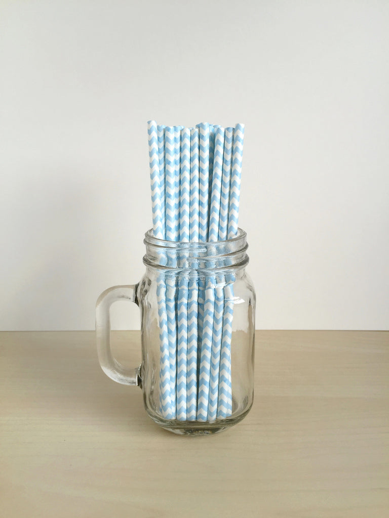 Powder Blue Chevron Paper Straws Singapore