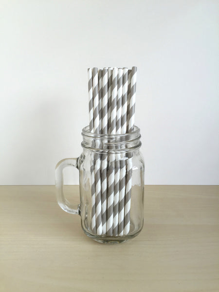Grey Striped Paper Straws Singapore