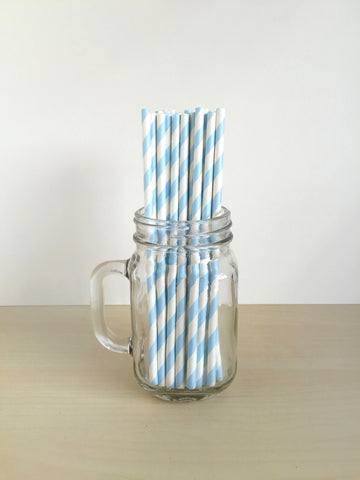 Powder Blue Striped Paper Straws Singapore