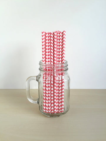 Candy Red Chevron Paper Straws Singapore