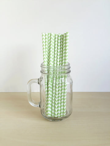Green Chevron Paper Straws Singapore