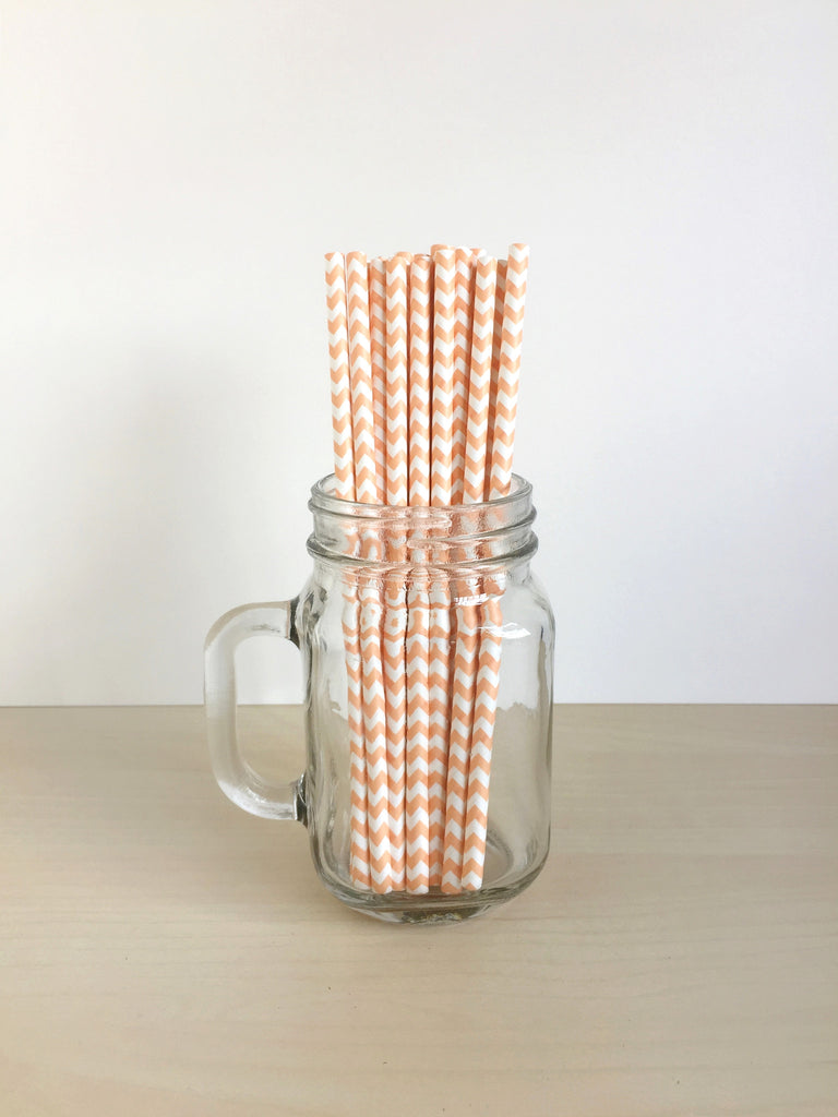 Orange Chevron Paper Straws Singapore