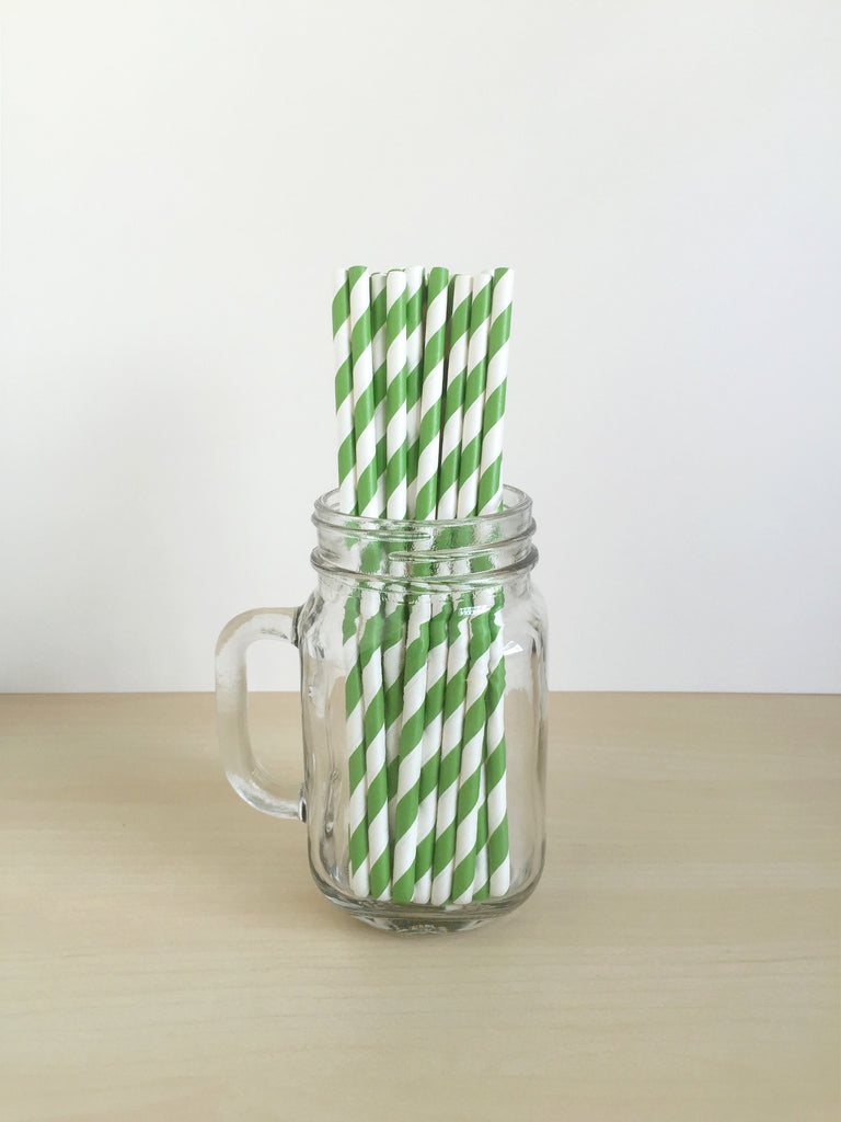 Kelly Green Striped Paper Straws Singapore