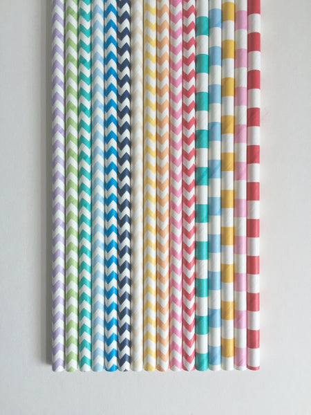 Powder Blue Sailor Striped Paper Straws