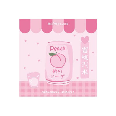 Japanese Drink Peach Soda Embroidered Sticker Patch